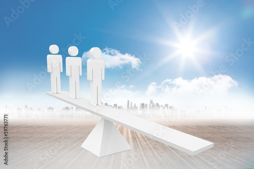 White human resource scales in front of city