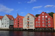 Panoramic picture of Old Storehouses in Trondheim