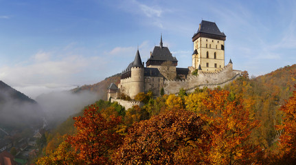 Romantic castel Karlstejn in autumn. Central Bohemia near Prague