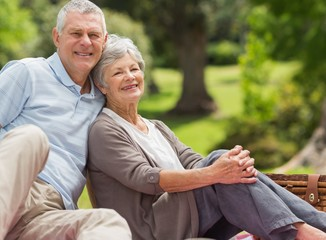 Smiling senior couple sitting with picnic basket at park