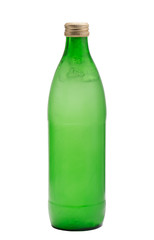 Green glass bottle with frozen water inside