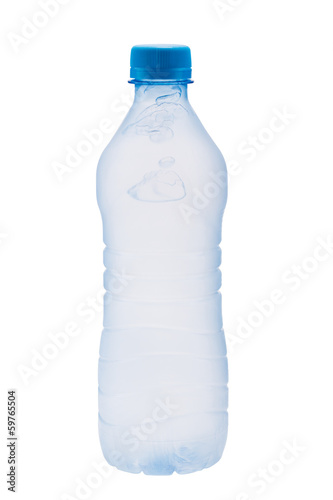 Plastic bottle with frozen water bubbles