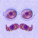 Colorful Glasses and Mustaches with Floral Pattern