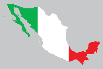 map and flag of Mexico