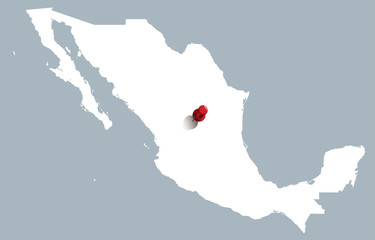 white map of Mexico with red push pin