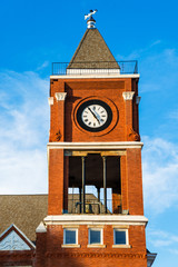 Clock tower of historic small town court house building
