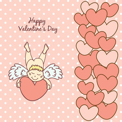 card Happy Valentine's Day with a cute cupid