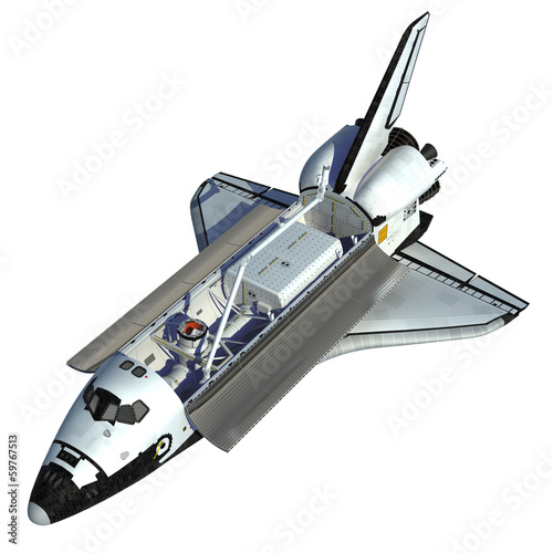 Leinwanddruck Bild Space Shuttle On White Background