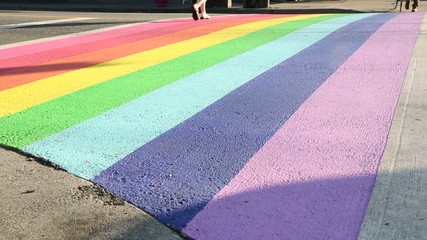 Pride Crosswalk Traffic and Bicycle Vancouver