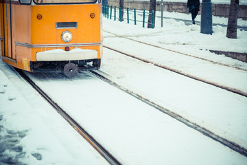 Snow Covered Tramway in Budapest