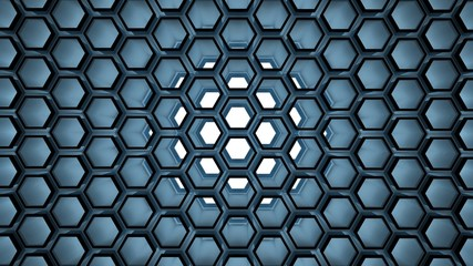 Background with 3d blue beehive on white
