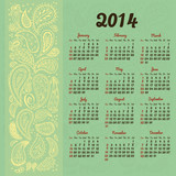 2014 Calendar with decorative floral elements