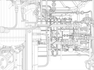Industrial equipment. Wire-frame. Vector format