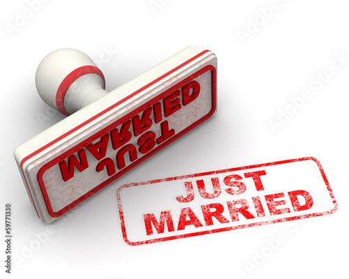 Just married (молодожены). Печать и оттиск