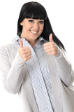 Happy Young Woman Thumbs Up