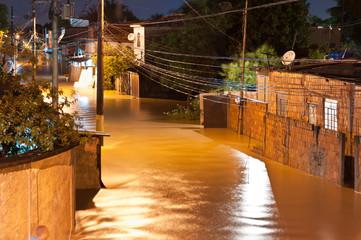Flood at Night in Poor Area in Nova Iguacu, Rio, Brazil