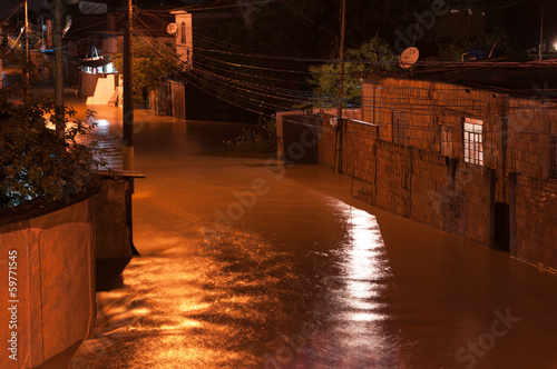 Flood at Night in Poor Area in Nova Iguacu, Rio, Brazil - 59771545