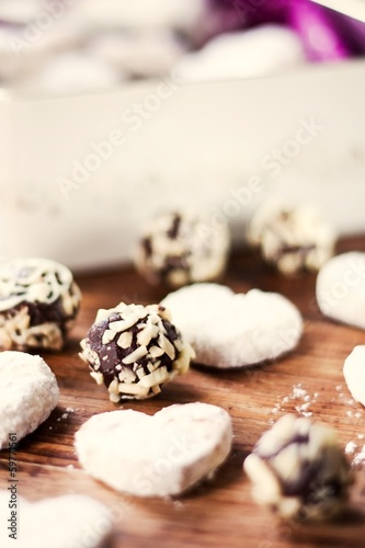Vanilla Cookie Hearts and Chocolate Pralines