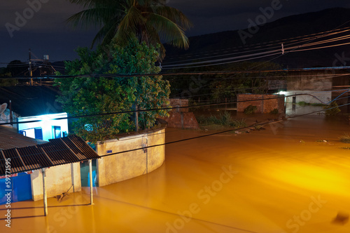 Flood at Night in Poor Area in Nova Iguacu, Rio, Brazil - 59771595