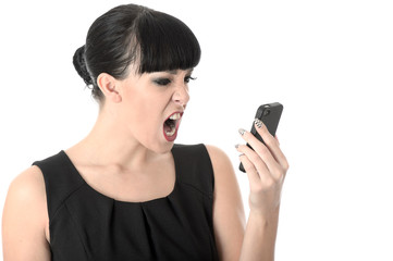 Young Woman Shouting into Mobile Phone
