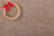 Decorative wreath straw sacking symbol New Year and Christmas.
