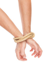 The man hands bound with a rope. Limitation of actions.