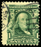 Vintage US Postage Stamp of Benjamin Franklin (1902)