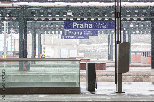 Prague Train Station during Snowfall
