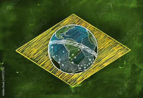 Brasil Flag Sketch Soccer Edition