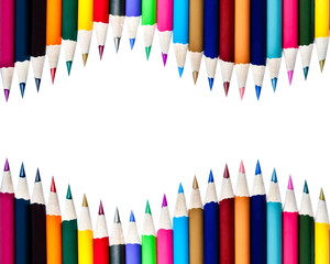 Rows of Color Pencils Background