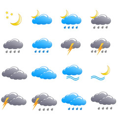 Weather icon set summer night