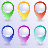 Vector set of colored map pins