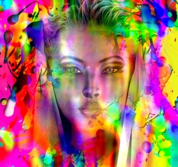 Beautiful face on abstract wet paint background