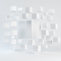 Abstract white geometric shapes from cubes