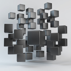 Abstract black geometric shapes from cubes