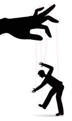 silhouette di uomo controllato come una marionetta