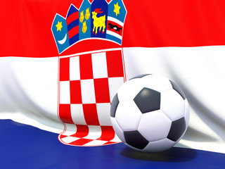 Flag of croatia with football in front of it