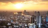 Urban City Skyline, Bangkok, Thailand.