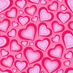 seamless pattern of pink hearts