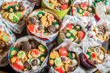 Boxes of fancy cookies for holiday