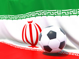 Flag of iran with football in front of it