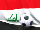 Flag of iraq with football in front of it
