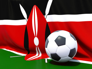 Flag of kenya with football in front of it