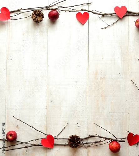 Red heart,apple and twig.image of Valentines day