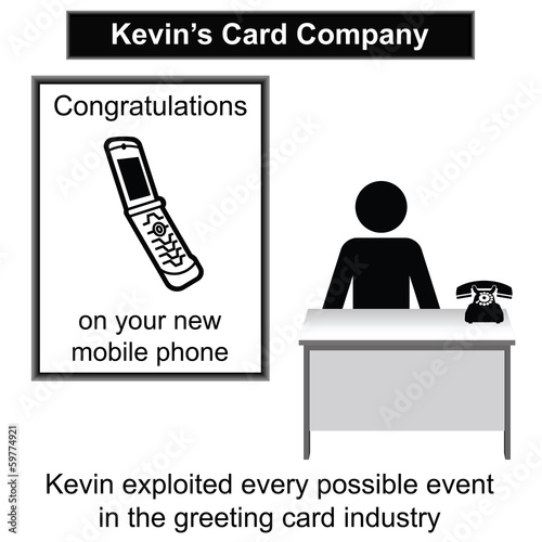 Kevin in his greeting card shop cartoon