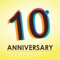 10th Anniversary poster / template design in retro style