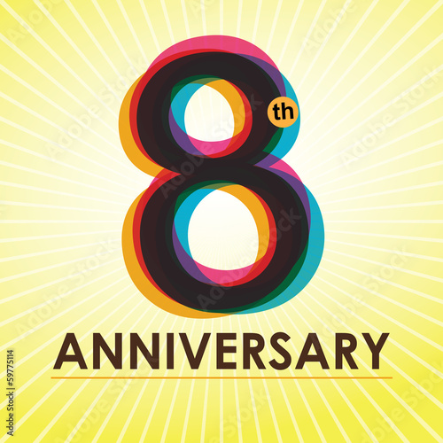 8th Anniversary poster / template design in retro style