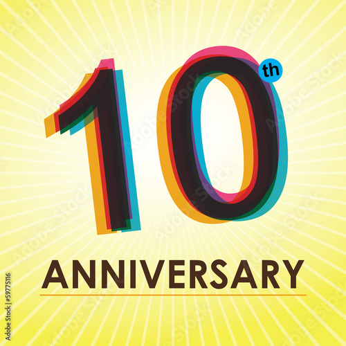 10th Anniversary poster / template design in retro style
