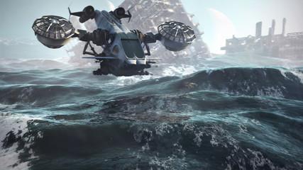 sci-fi scenery 3d illustration