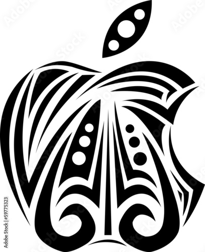 Black apple ornament vector